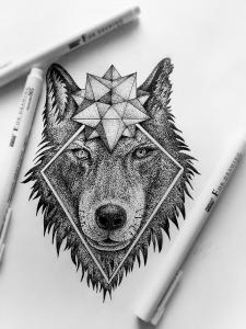 Эскиз волка под заказ