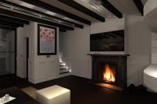 интерьер гостиной з красными цветами