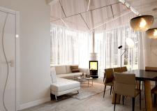 Современная гостиная с камином