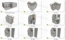 Типовые узлы обшивки здания фасадными кассетами