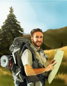 Илюстрация туриста в полной екипировке