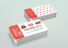 Визитки со скидкой для интернет-магазина Goldenbag