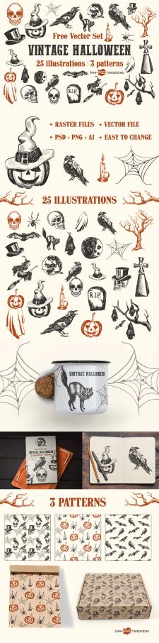 Коллекция векторных иллюстраций для Хелоуина