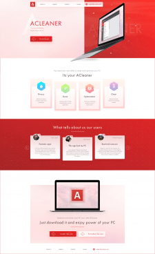 Дизайн Landind page для ACleaner