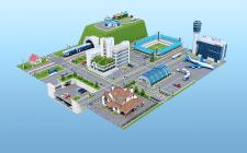 3D город - иллюстрация на главную страницу сайта