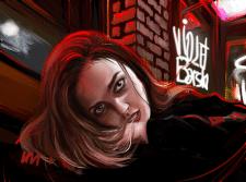 Графический портрет с проработанным фоном