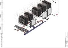 3D фрагмент сетей внутри серверной из Ревит 16
