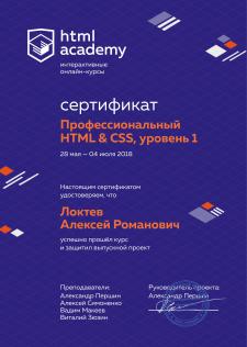 Сертификат профессиональный HTML&CSS, уровень 1