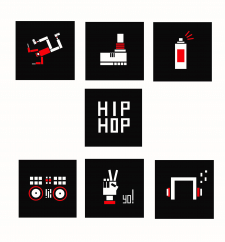Пиктограммы-иллюстрации на тему хип хоп.