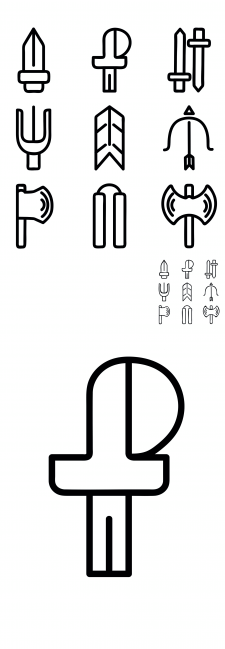 Cold weapon pictograms