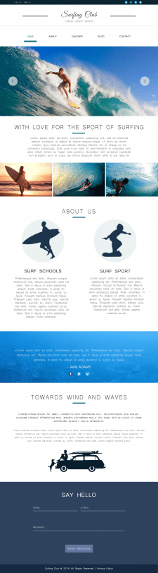 "Landing page ""Surfing Club"""