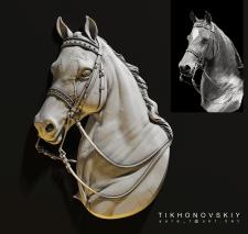 Барельеф головы лошади