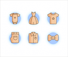 Set of clothes. Vector illustration, pattern