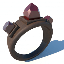 Wood ring with stones