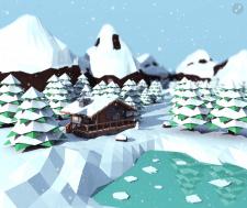 Winter landscape. Low poly.