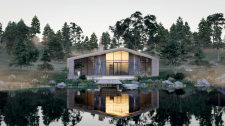 Визуализация дома на берегу у реки