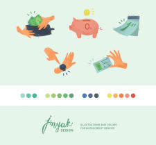 Illustrations and colors for microcredit service
