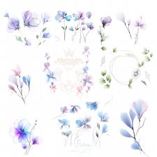 Цветы в акварельном стиле акварель, вектор