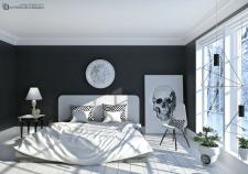 Дизайн спальни с зимним видом за окном