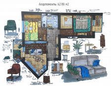 "Планировка квартиры ""лесной уголок"""