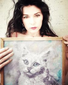 Портрет кошки под заказ масло, акрил