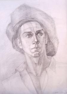 Портрет натурщика, карандаш.
