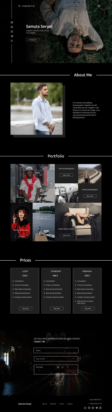 Landing page for photogapher(dark)