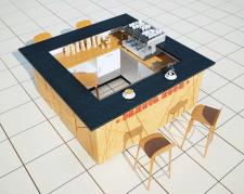 Дизайн торгового островка Ракета кофе