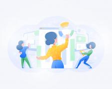 Иллюстрация командной работы для сайта