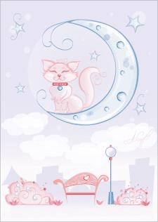 Кошка на луне