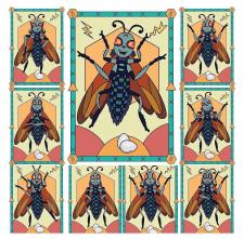 Иллюстрация, карточки для книги. Эмоции жука.