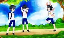 Иллюстрация для детей в стилле аниме.