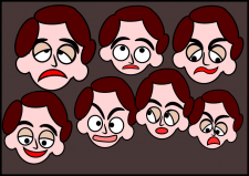 Разная мимика лица.