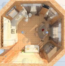 Визуализация кухни-столовой (вид сверху)