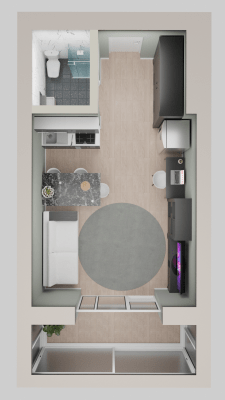 Планировка и дизайн студии 22.5 кв.м.