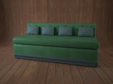 3Д ДИВАН зеленый, с подушками
