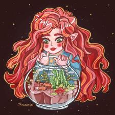 Девочка и аквариум
