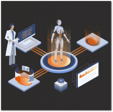 Иллюстрация робототехники для лендинга