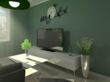 Проект гостиной в зеленых тонах