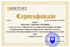 Certificate ASP..NET - Intuit