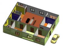 3d модель частного дома (вид 2) в Ревит 2014