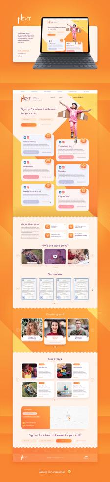 Дизайн landing page для детского центра Next