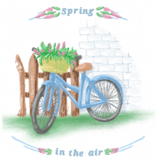 spring card with an illustration of a bicycle with