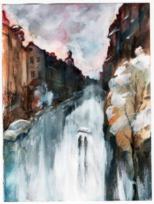 """Осень Подола"", акварель, бумага, 15х20, 2014"