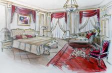 Эскиз интерьера спальни