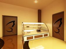 шоколадное кафе, кондитерская витрина
