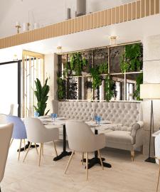 Дизайн проект ресторана ,основной зал