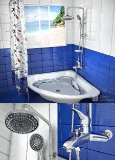 Визуализация смесителя с душем в ванной комнате