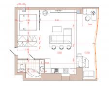 Планировка квартры студии