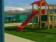 Детская площадка в лагере кемпинг. 3DsMax